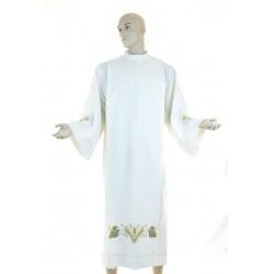 Camice sacerdotale piegoni ricamato a macchina 100% lana colore avorio