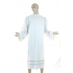 Camice sacerdotale piegoni ricamato a macchina misto lana colore avorio con cerniera davanti