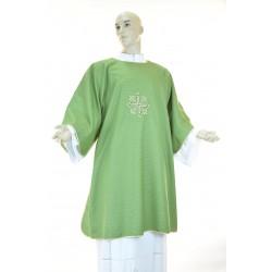 Dalmatica in tessuto 95% lana 5% lurex con ricamo fronte e retro Verde