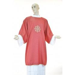Dalmatica in tessuto 95% lana 5% lurex con ricamo fronte e retro Rossa