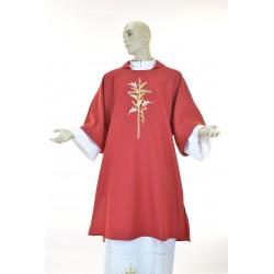 Dalmatica 100% poliestere con ricamo fronte e retro Rossa