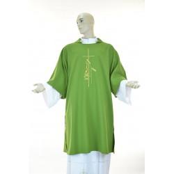 Dalmatica 100% poliestere con ricamo fronte e retro Verde