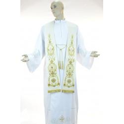 Stola sacerdotale monocolore ricamata in tessuto fresco lana