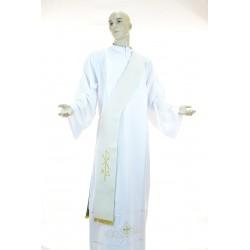 Stola diaconale bicolore ricamata 100% poliestere Bianco-Verde