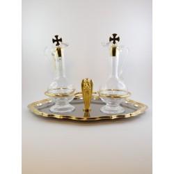 Ampolline da celebrazione acqua e vino bicolore con vetri in cristallo