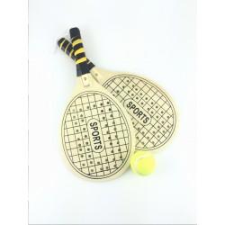 Set Racchettoni e Pallina da Tennis in Legno, SPORT TOYS GARDEN