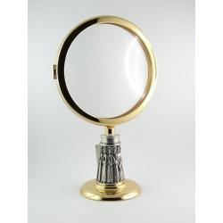Ostensorio bicolore in fusione cesellato a mano per ostia magna con doratura galvanica in oro zecchino a 24 carati.