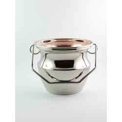 Secchiello in metallo lucido con interno realizzato in rame estraibile