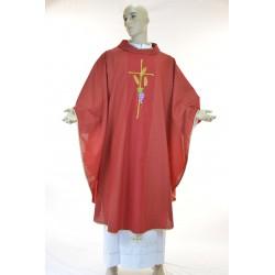 Casula  terital lana con ricamo fronte e retro Rossa