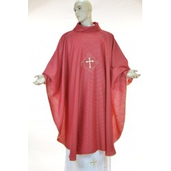 Casula  95% lana 5% lurex con ricamo fronte e retro Rossa