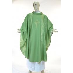 Casula  100% fresco lana con ricamo fronte e retro Verde