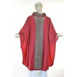 Casula 100% fresco lana Rossa con ricamo su stolone e strass applicati a mano