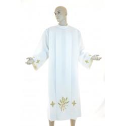 Camice sacerdotale piegoni ricamato a macchina 100% poliestere  colore avorio