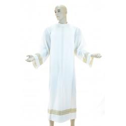 Camice sacerdotale piegoni ricamato a macchina 55% poliestere 45% lana Avorio
