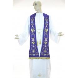 Stola sacerdotale monocolore ricamata su tessuto fresco lana
