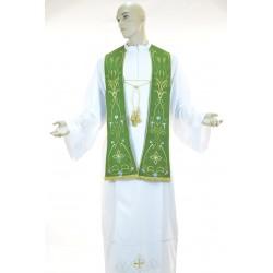 Stola sacerdotale monocolore ricamata su tessuto fresco lana Verde