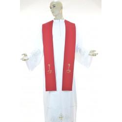 Stola sacerdotale bicolore 100% poliestere Bianco-Rosso