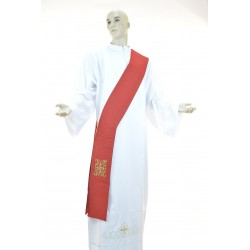 Stola Rossa diaconale monocolore 95%lana 5% lurex ricamata a macchina