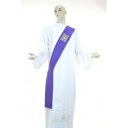 Stola Viola diaconale monocolore 95%lana 5% lurex ricamata a macchina