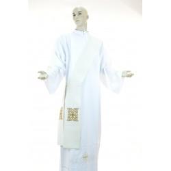 Stola Avorio diaconale monocolore 95%lana 5% lurex ricamata a macchina