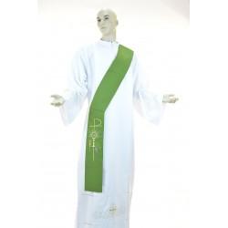 Stola diaconale monocolore ricamata 100% poliestere Verde