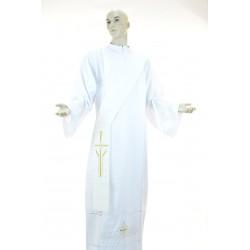 Stola diaconale monocolore ricamata 100% poliestere Avorio