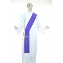Stola diaconale monocolore ricamata 100% poliestere Viola
