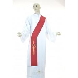 Stola diaconale monocolore ricamata 100% poliestere Rossa