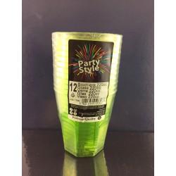 Bicchiere Plastica 220cc Pz.12 Verde Party Style Gold Plast