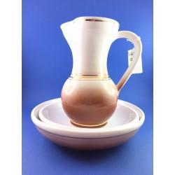 Brocca,Piatto e Bacile Per Manutergio In Ceramica Dipinta