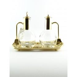 Ampolline da celebrazione acqua e vino dorate con comodo incastro per manico