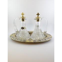 Ampolline da celebrazione acqua e vino bicolore cesellate a mano con vetri originali bohemia
