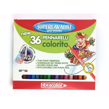 Pennarelli Punta Fine Superlavabili Pz.36 Fibracolor