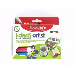 Pennarelli Per Decorare iDeco'Artist Pz.6 Punta Grossa Fibracolor