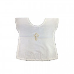 Vestina Battesimo In Cotone  con Disegno Croce