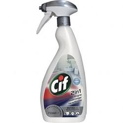 Cif Bagno 2 in 1, Detergente Igienizzante Anticalcare per le Superfici del Bagno, Pro Formula Diversey, Flac. 750 ml