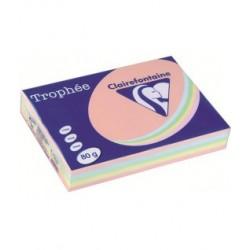 Carta A3 Trophee 80 gr Colori Tenui Assortiti, Risma da 500 Fogli, 100 per Colore