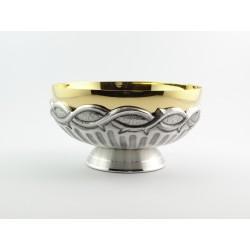 Ciotola con base cesellata mano esterno nichel interno oro