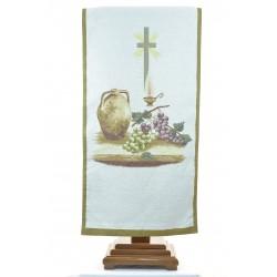 Coprileggio in tessuto jacquard raffigurante l'eucarestia ricamato con sfondo colore oro.