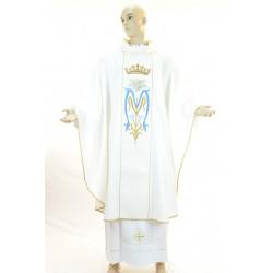Casula terital lana con ricamo a mariano su stolone fronte e retro.